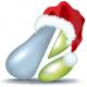 pear logo with santa hat