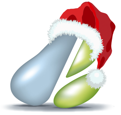 pear logo with santa hat